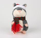 Говорящий новогодний хомяк серый UFT Christmas Hamster gray